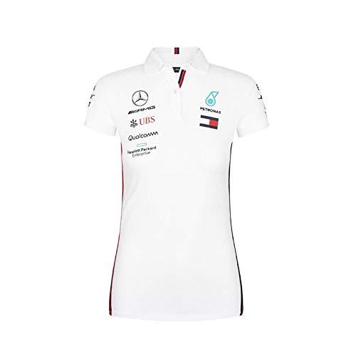 Official Formula 1 Merchandise | Damen | Offizielle Mercedes-AMG Petronas Motorsport 2019 F1™ | Team Poloshirt | Weiß | Baumwolle und Elestan | Größe: L