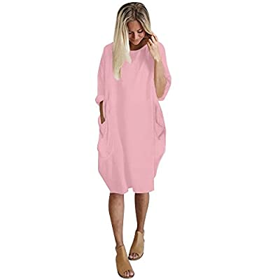Mlide Women Casual Loose V Neck Fit Half Sleeve Short Swing Tunic Shift Dress Pocket Crew Neck Long Top Dress,Pink L by Mlide