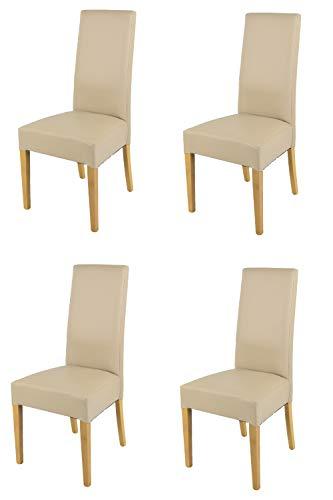 Tommychairs - Set 4 sedie modello Luisa per cucina bar e sala da pranzo, robusta struttura in legno di faggio verniciata rovere, seduta e schienale imbottiti e rivestiti in pelle artificiale lino