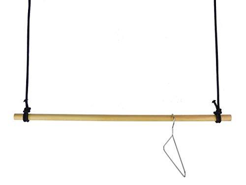 Hängegarderobe 100 cm aus Holz mit Seil schwarz - sehr stabil - Garderobe Deckenbefestigung Kleiderstange 1m