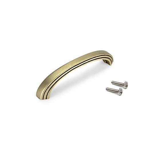 Emuca - Tirador para mueble, tirador para cajón, intereje 96mm, Zamak, Acabado oro viejo, Set de 25