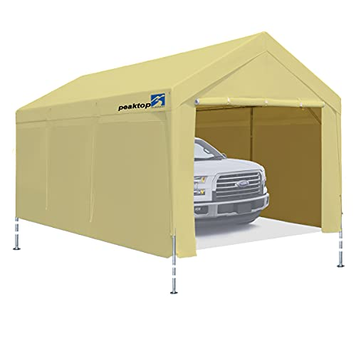 10x20 ft Upgraded Heavy Duty Carport with Adjustable Heights from 9.5ft to 11.0ft,Portable Car Canopy with Removable Sidewalls, Garage Tent, Boat Shelter with Reinforced Triangular Beams,4 Weight Bags