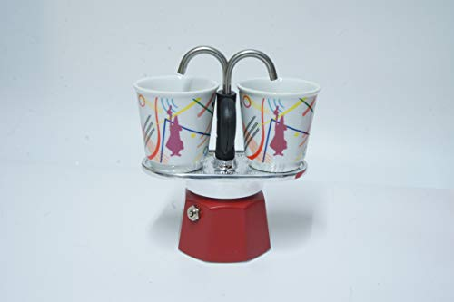 Bialetti Mini Express Farbe Rot, Kaffeebereiter + 2 Becher