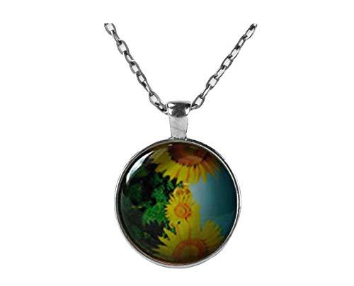 Small Elf Sonnenblumen-Halskette, Sonnenblumen-Schmuck, Geschenk, Blumen-Schmuck, Blumen-Geschenk, kuppelförmige Glas-Ornamente, Geschenke für Sie