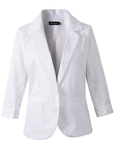 Women's 3/4 Sleeve Boyfriend Blazer Tailored Suit Coat Jacket (TG-503 White, L)