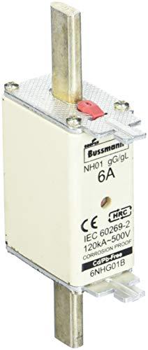 Eaton 6NHG01B Sicherungseinsatz, Niederspannung, 6 A, AC 500 V, NH01, Gl/Gg, IEC, Kombikennmelder, Spannungsführende Grifflasche