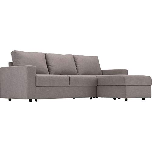 Meubletmoi 3087 - Sofá esquinero reversible y convertible, 3 plazas, tejido gris