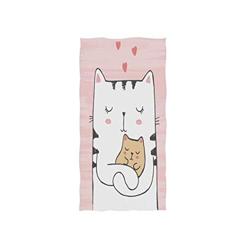 N/A Leuke Kat Knuffels Baby met Hartjes Handdoek Ultra Zachte Handdoeken voor Badkamer 32x51 Inch