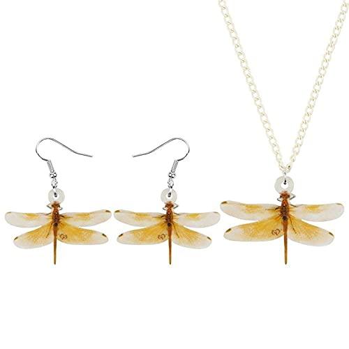 Set di gioielli in acrilico con libellula gialla Orecchini con collana di insetti animali carini per donne, adolescenti e bambini Decorazione regalo di moda Hyococ (Colore: giallo)