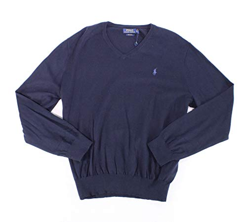 Polo Ralph Lauren Mens Sweater Navy V-Neck Solid Knit Blue XS