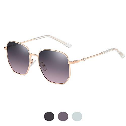 URJEKQ Gafas De Sol Rectangulares Polarizadas para Mujer, Montura Metálica Retro Ultraligera, Protección UV, Gafas Deportivas para Pescar, Conducir, Golf,Gris