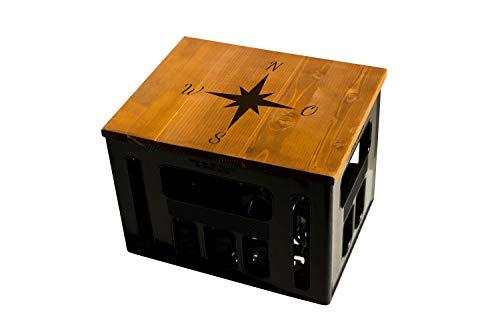 ultiMade Bierkastensitz Holz Sitzauflage für Bierkiste Geschenkidee Geschenk für Männer Biergeschenk Hocker Holz: Hipster mit Motiv Kompass