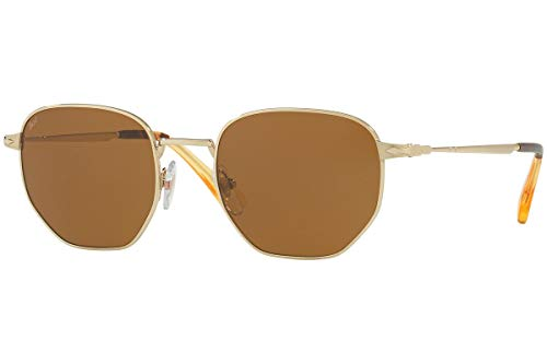 Persol PO2446S Sonnenbrillen Gold Mit Braunen Gläsern 52mm 107633 PO 2446-S PO2446-S PO 2446S