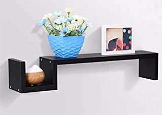 Home Floating Shelves Shape Wall Shelf Set with Hidden Brackets for books, Decoration and Accessories - black - 88×17×13