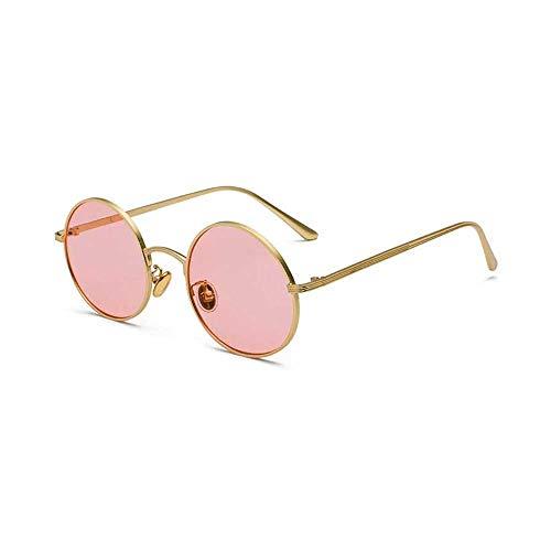 Anas Retro pequeñas y Redondas Gafas de Sol polarizadas for Hombres de Las Mujeres del Estilo de Lennon John Círculo Hippie Glasses (Color : Pink)
