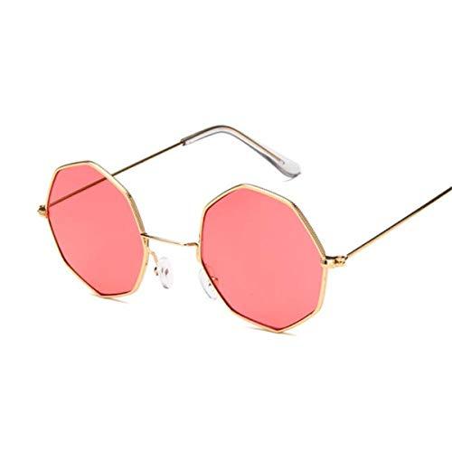 FGRYGF-eyewear Gafas de sol deportivas, gafas de sol vintage, Octagon Yellow Red Round Sun Glasses For Women Mirror Retro Luxury Oval Small Sunglasses Women Oculos De Sol Gold Red