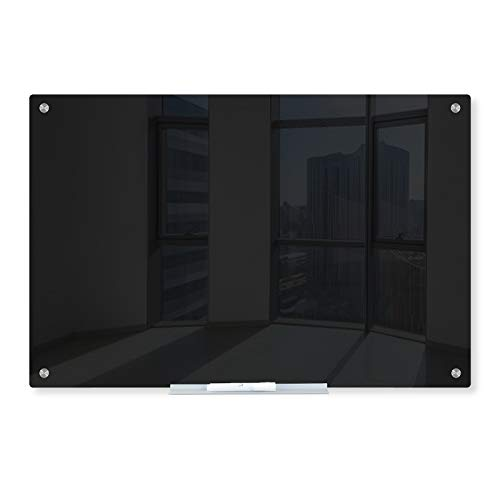 J&J worldwide Glass Dry Erase Board, 35 x 23 Inches Non-Magnetic Glass Blackboard, Black Surface, Frameless, Includes Markers, Marker Tray, Eraser for Wall, Office, Home, School