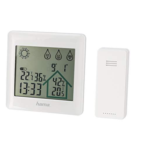 """Hama Funk-Wetterstation mit Außensensor, Wettervorhersage, """"Action"""" (Innen-/Außentemperatur, Luftfeuchtigkeit, Hygrometer/Thermometer, Wecker-Funktion, batteriebetrieben) Temperaturmessgerät weiß"""