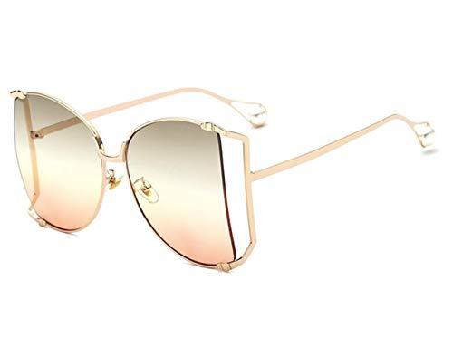 NOBRAND Regalo Maravilloso Pero práctico Marco Grande De La Señoras Gafas De Sol De Moda Brillante De Metal Hueco Sol Lentes (Color : 5)