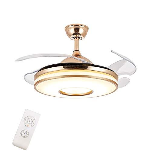 OUKANING Ventilador de techo con iluminación y mando a distancia, 42 pulgadas, lámpara LED de techo, alas plegables, moderna lámpara de techo para dormitorio, salón comedor (Amarillo)