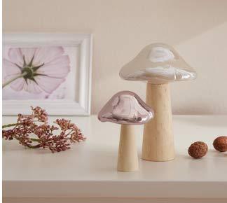 TFH Deco paddenstoelen parelmoer set van 2 wit roze hout raamdecoratie herfstdecoratie herfst tafeldecoratie pastel natuur