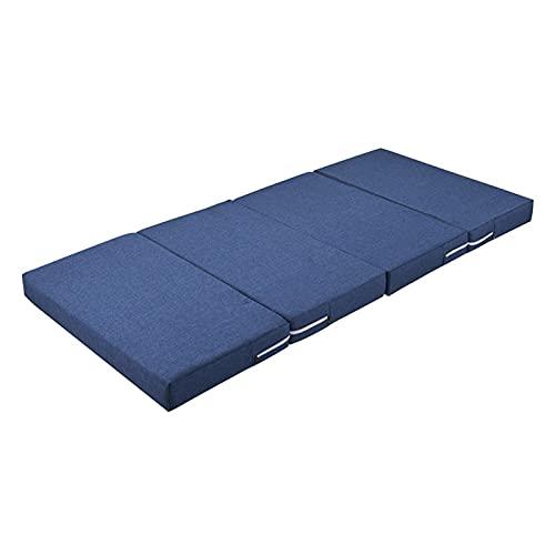 ZhoneQingXninRED Colchón Plegable, Funda de colchón de Espuma con colchón extraíble, colchón portátil, Ligero y portátil, Compacto y fácil de almacenar (Azul) (Color : Blue)