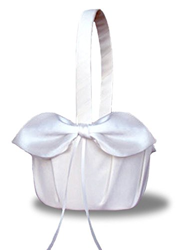 SACASUSA(™) White Satin Bow Wedding Flower Girl Basket