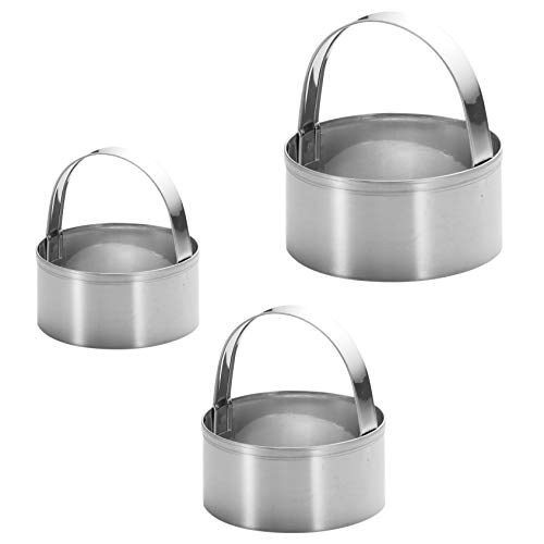3 Pieces Round Biscuit Cutter with Handle - Stainless Steel Round Circle Doughnut Cutter Baking Molds Assorted Size
