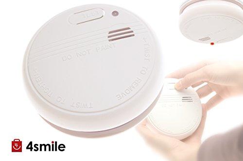 Rev rookmelder met lekschakelaar, werkt op batterijen, als vroegtijdige waarschuwingssysteem, brandmelder, getest volgens DIN EN 14604, 5 jaar garantie, kleur: wit.