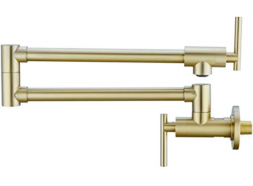 Pot Filler Faucet Wall Mounted 2 Handle Valve Stainless Steel Kitchen Pot Filler with Dual Stretchable Joint Folding Swing Arm, Brushed Gold