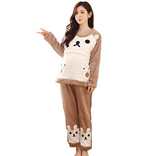 Dos Piezas Pijamas de Lactancia Invierno Ropa Premamá Franela Pijama Embarazada Manga Larga Algodon Top y Pantalones Cálido Conjunto Maternidad