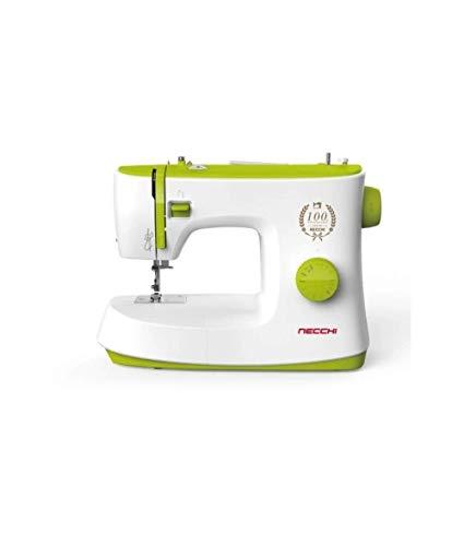 Necchi K408A - Máquina de coser, interior de aluminio fundido a presión, carcasa de ABS, luz verde, normal