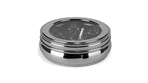 masala dabba masala box spice box/jars Stainless Steel Belly Shape Masala (Spice) Box/Dabba/Organiser with See Through Lid with 7 Containers and Small Spoon (Small)