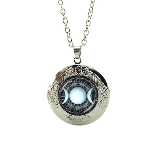Mayoreo encantos Triple Luna diosa locket colgante collar galaxia planeta estrella nebulosa declaración hombres mujeres joyería