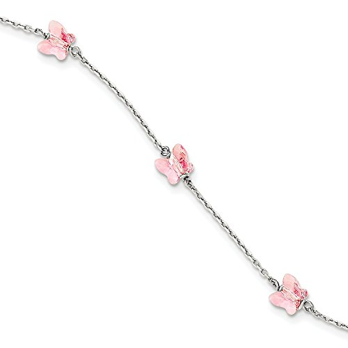 925 Sterling Silver 6mm Rose Crystal Butterfly By The Yard Bracelet 6 Inch Fine Jewellery For Women Gifts For Her