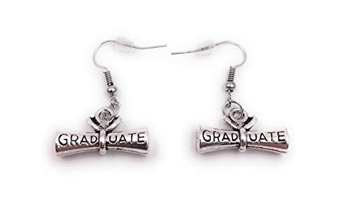 Onwomania Ohrringe Paar Abschluss Diplom Papiere Zeugniss Ohrring aus Metall Ohrschmuck