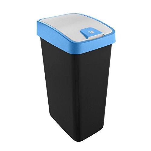 keeeper Premium Abfallbehälter mit Flip-Deckel, Soft Touch, 45 l, Magne, Blau, Plastik, 45 Liter (Für 60 l Müllbeutel)