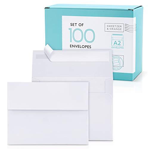 Sweetzer & Orange A2 Envelopes White Envelopes Self Seal (100 with Box). Luxury 150gsm For Greeting Card Envelopes and Invitation Envelopes 4-3/8 x 5-3/4, RSVP Envelopes, Plain Mailing Envelopes