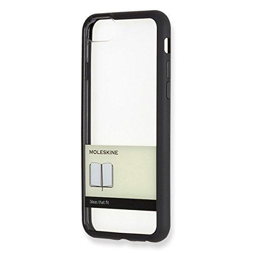 Moleskine Cover Rigida Trasparente con Fascia per iPhone 6/6s/7/8, con Quaderno Volant Journal XS per Appunti, Custodia con Bordo e Fascetta, Colore Nero