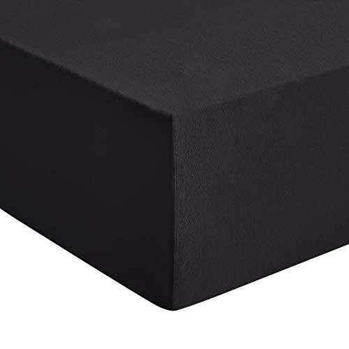 Amazon Basics - Premium-Spannbetttuch, Jersey, Schwarz - 140 x 200 cm