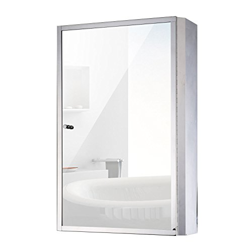 HOMCOM Vertical 24' Stainless Steel Bathroom Wall Mirror Medicine Cabinet
