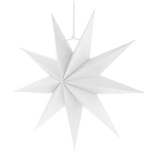 Gazechimp Hänge-Deko aus Papier 3D Sterne Form für Weihnachten Halloween Party - Weiß, 30 cm