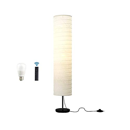 ACMHNC Papel Lámpara Pie Salon Regulable Con Control Remoto, 12W LED Luz de Piso Dormitorio Con Pantalla de Papel de Arroz Blanco, Enchufe E27, 40W Máx, Base de Metal, Luces de Suelo Retro, 123 Cm