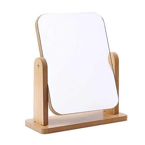 Hosoncovy Specchio da tavolo girevole a 360 gradi con supporto in legno trasparente, specchio rettangolare da tavolo