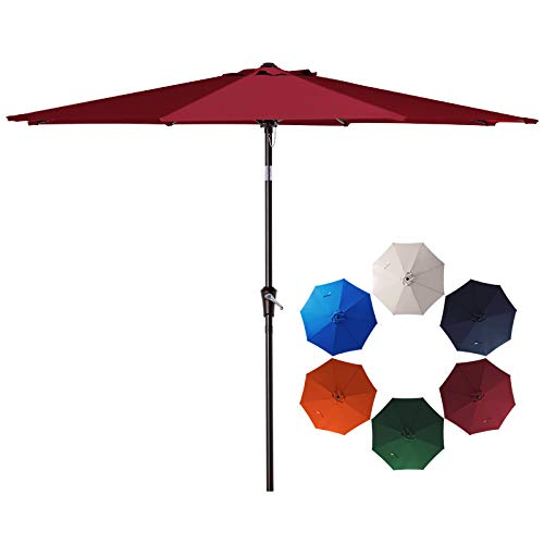 SMLIXE 9ft Patio Garden Table Umbrellas Outdoor Market Sunbrella With Push Button Tilt and Crank Lift System UV Protection Waterproof Sunproof Red