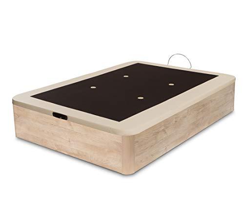 Dormidán - Canapé abatible Gran Capacidad Esquinas Redondeadas macizas, Base tapizada en 3D Transpirable/Polipiel, 4 válvulas de aireación, 150x190cm, Color Roble
