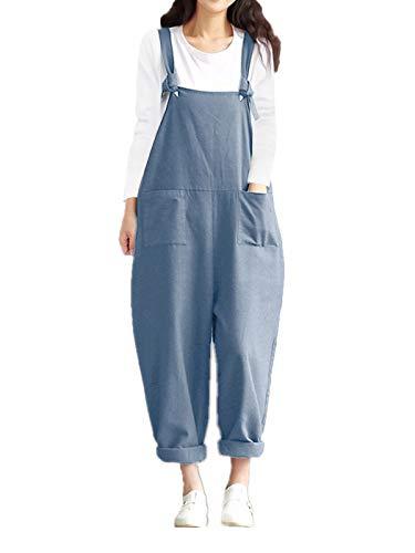 Style Dome Latzhose Damen Denim Oversize Retro Overall Jumpsuit Loose Playsuit Lange Rompers mit Taschen Hellblau-D44096 S