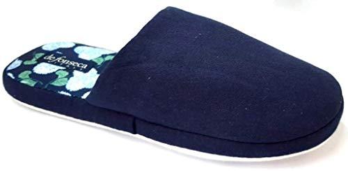 de fonseca Ciabatte Pantofole Cotone da Donna MOD. Roma Top E W606 Blu (Numeric_40)