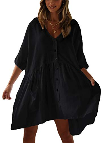 Bsubseach Black Casual Beach Shirt Tunic Dress with Pockets for Women Button Down Half Sleeve Swimsuit Cover Up
