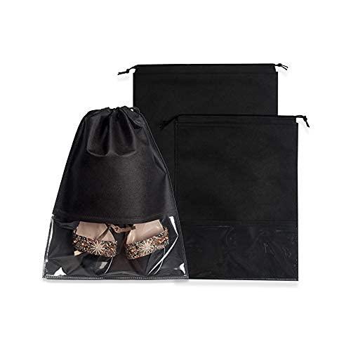 18 bolsas de zapatos de viaje, bolsa de zapatos portátil con transparente, negro no tejido con bolsa de embalaje de almacenamiento de zapatos de cuerda, 9..